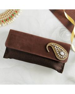 Trendy Brown Golden Clutch