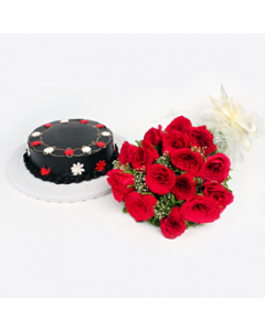 Rose And Chocolate Cake Combo