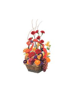 colourful Flowers including fresh Fruit basket