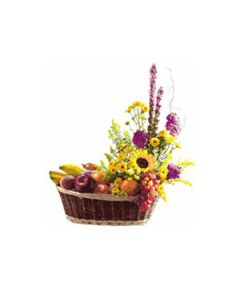 Fresh Fruit Basket with Colourful Flowers