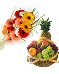 10 gerberas arrange with Healthy 2Kg Fruit Basket