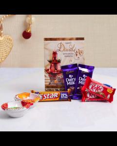 Send Diwali Card With Chocolates And 2 Diyas