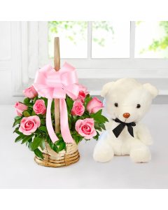 Small Teddy With 10 Pink Roses Basket