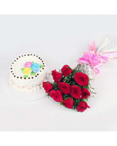 Ten Red Roses With Half Kg Vanilla Cake