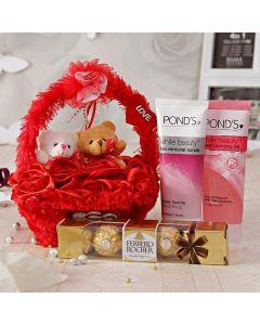 Buy Teddy Basket With Chocolates N Skin Care Hamper Online