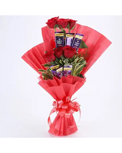 Chocolate Bouquet with 6 Red Roses