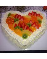 Buy Heartshape Fresh Fruit Cake Online
