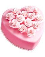 Pink Heart Rose Cake