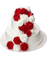 Red n White Rose Cake  3 KG