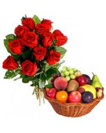 2 Kg Fruit Basket with 12 Red Roses Bunch