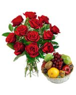 2 Kg Fruit Basket with 12 Red Roses in a Vase