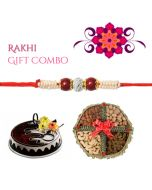Elegant Pearl Rakhi Combo  (Cake, Dryfruit)