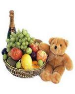 Exclusive Fruit Basket with Teddy & Fruit juice