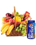 fresh Fruit basket combined with Horlicks and crunchy Biscuits