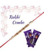 Golden Rakhi with Chocolates