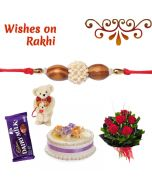 Oval Sandalwood Beads Rakhi Combo  (Teddy, Cake, Flowers, Chocolate)