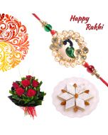 Peacock Traditional Rakhi Combo  (Flowers, Sweets)