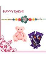 Traditional Flower Rakhi Combo  (Teddy, Chocolates)