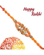 Send Traditional Sandalwood American Diamond Rakhi Online