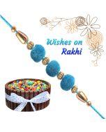Turquoise Velvet Rakhi With Cake